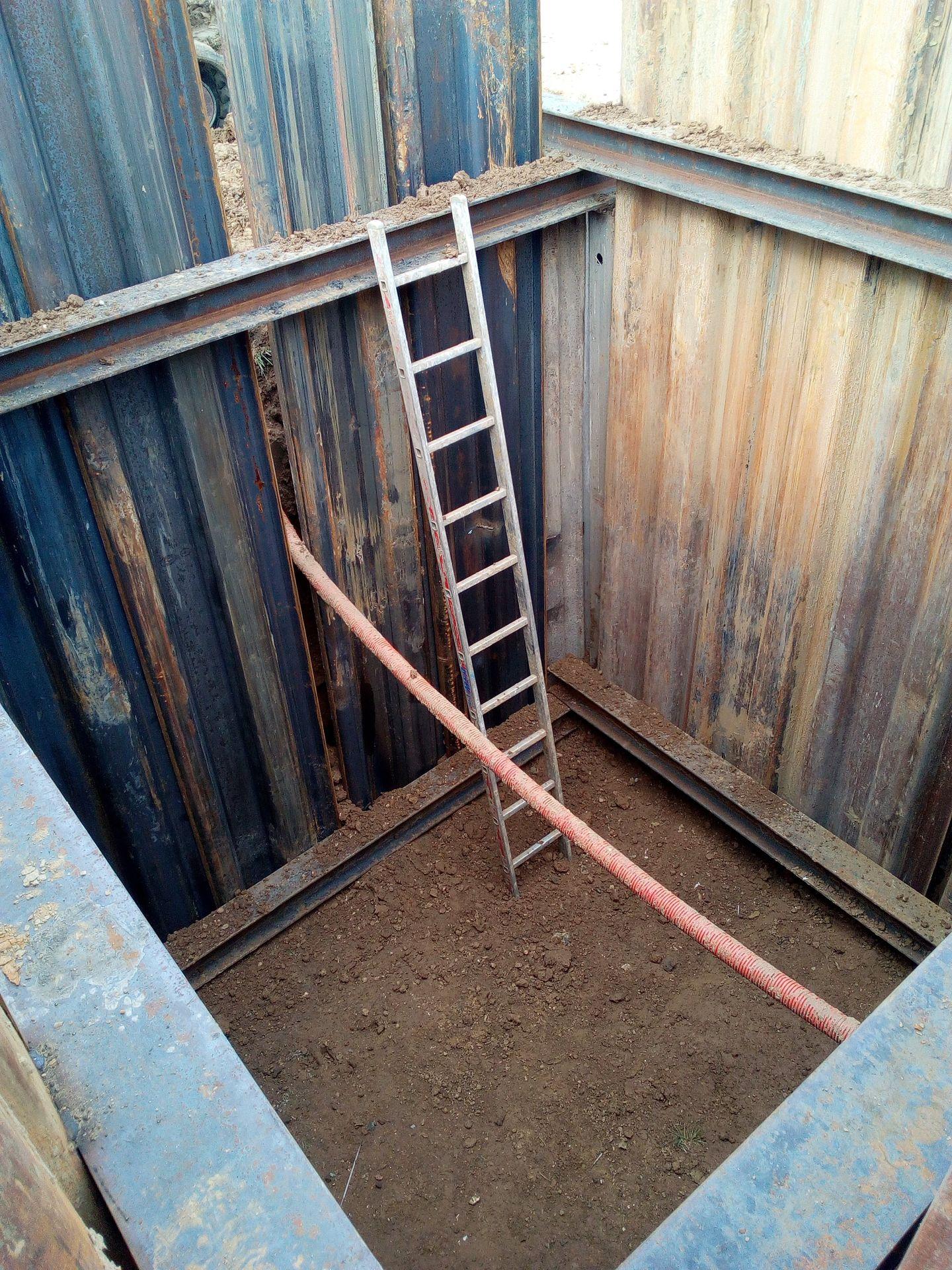 1. Création d'une fosse pour l'installation des drains.